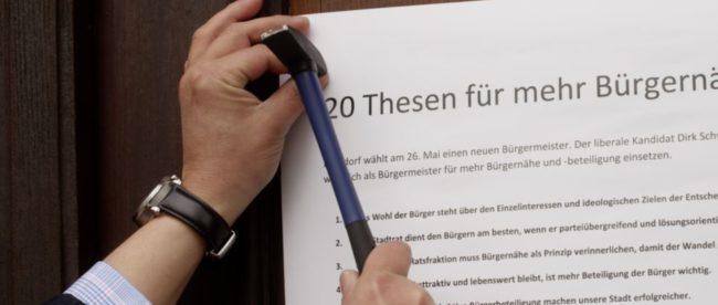 Dirk Schwerdtfeger, Bürgermeisterkandidat der FDP Burgdorf, hat zwanzig Thesen zur Bürgernähe für Burgdorf entwickelt.